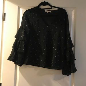 flowy sleeve blouse with moons